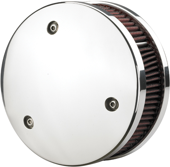Custom Motorcycle Air Cleaner Cover : Round chrome air cleaner