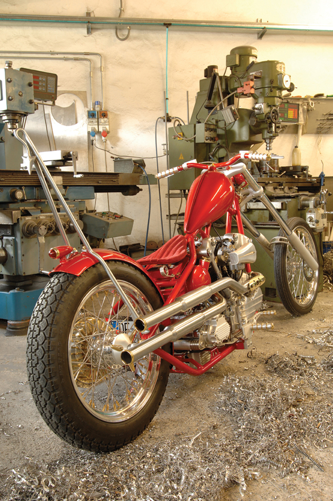 vintage motorcycle mid controls with brake and hydraulic clutch master cylinders