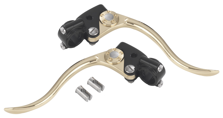 black and brass harley cable controls