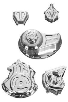 complete engine and transmission solid covers kit for v-rod's, night-rod's, street-rod's – polished