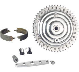 drum brake kit with chromed fins