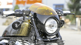 front fairing kit café racer for sportster models - yellow windscreen
