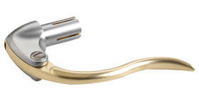 hand control inverted satined chrome and satined brass for left or right mount