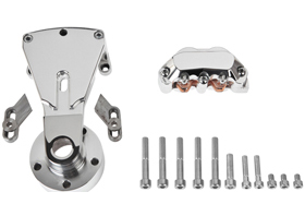 rear caliper and bracket for pulley-brake combination for 2000-07 softails with three quarters axle