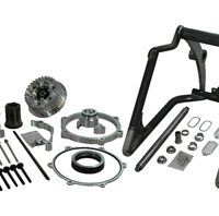 swingarm conversion kit 280300 tire on 18x10.5 rim - 1 axle - for 2008-11 twin cam rocker with OEM brake caliper