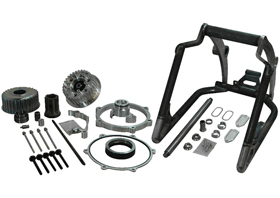 swingarm conversion kit 280/300 tire on 18×10.5 rim – 1″ axle – for 2008-11 twin cam rocker with aftermarket brake caliper