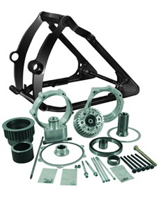 swingarm conversion kit 330 tire on 18x12 rim - 1 axle - for 2014-up twin cam softail with aftermarket brake caliper