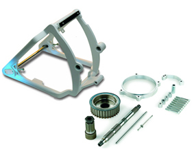 swingarm conversion kit 330 tire on 18x12 rim - 3-4 axle - for 2000-06 twin cam softail with OEM brake caliper