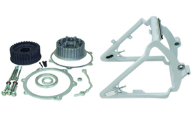 swingarm conversion kit 330 tire on 18x12 rim - 3-4 axle - for 2007 twin cam softail with OEM brake caliper