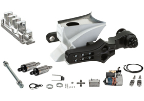 swingarm single-sided, gas tank, air ride shocks complete kit for 2007-up VRSC models - black