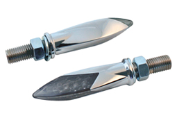 turn signals LED 3D torpedo chromed - smoked lens