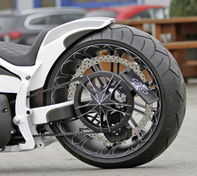 unbreakable single-sided swingarm, wheels and tires kit for rocker and breakout models