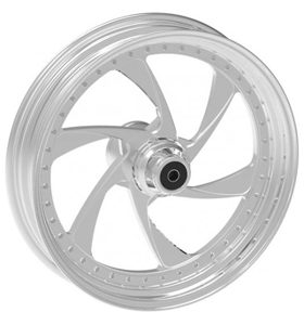 wheel cyclone design 17x12.5 polished for v-rod - dual flange