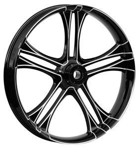 wheel daytona 26x3.75 glossy black anodized with CNC machined details - dual flange