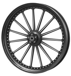 wheel spoke 26x3.75 glossy black anodized with CNC machined details - dual flange