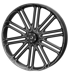 wheel unbreakable 26x3.75 glossy black anodized with CNC machined details - dual flange