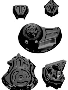 complete engine and transmission solid covers kit for v-rod's, night-rod's, street-rod's - black
