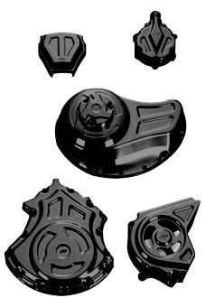 complete engine and transmission solid covers kit for v-rod's, night-rod's, street-rod's – black