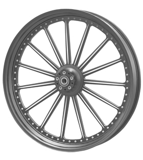 wheel spoke 26x3.75 flat black anodized with CNC machined details - dual flange