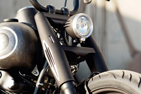 slim fork covers with built in turn signals black