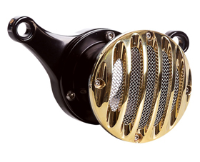 velocity stack grill black and brass
