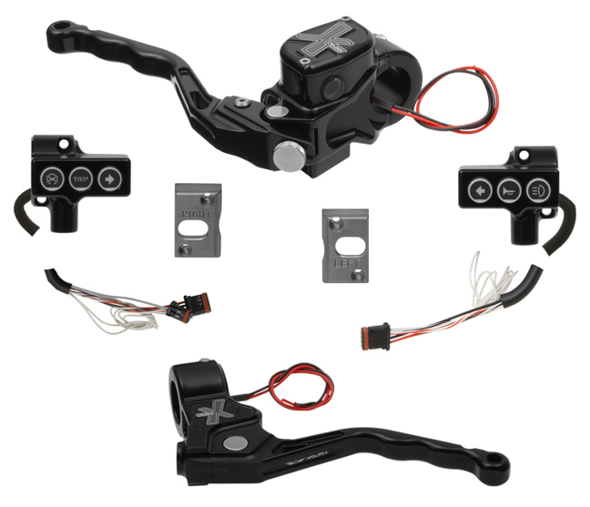 hand controls RR90X radial brake master cylinder, cable clutch, switches – CAN Bus A for 2011-17 Softails, 2012-17 Dynas – black