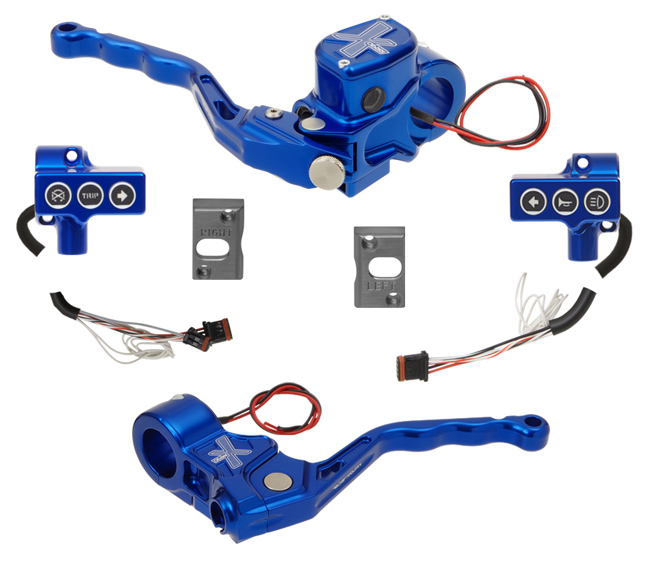 hand controls RR90X radial brake master cylinder, cable clutch, switches – CAN Bus A for 2011-17 Softails, 2012-17 Dynas – blue