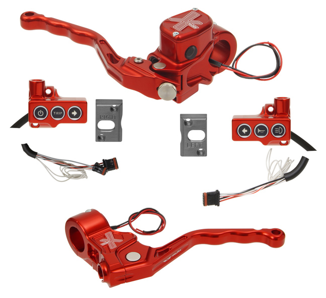 hand controls RR90X radial brake master cylinder, cable clutch, switches – CAN Bus B for 2016-up Softails, 2014-up Sportsters keyless ignition – red