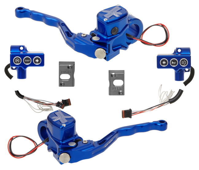 hand controls RR90X radial brake master cylinder, hydraulic clutch, switches – CAN Bus A for 2011-17 Softails, 2012-17 Dynas – blue