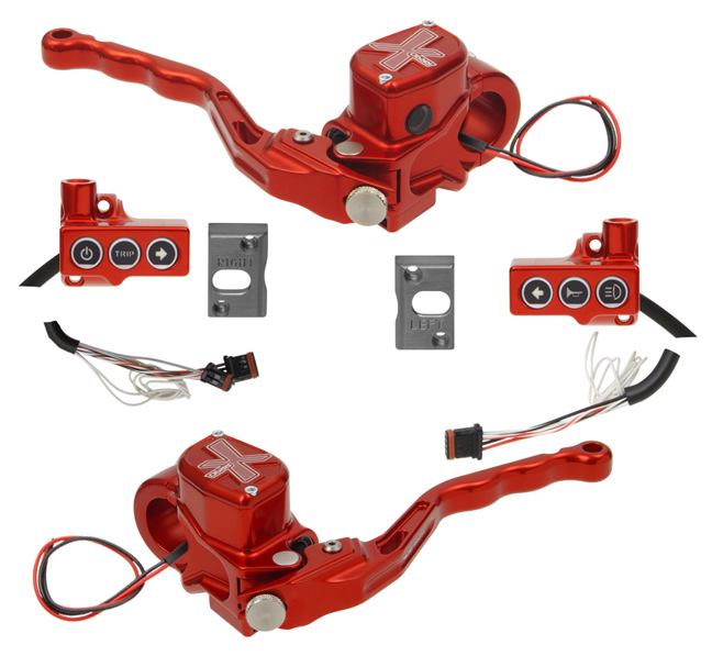 hand controls RR90X radial brake master cylinder, hydraulic clutch, switches – CAN Bus A for 2011-17 Softails, 2012-17 Dynas – red