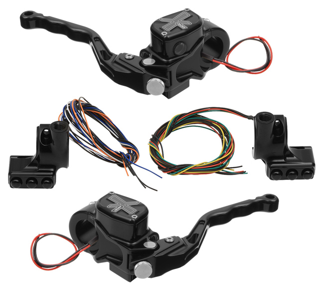 hand controls RR90X radial brake master cylinder w/ brake switch for dual caliper + hydraulic clutch w/ switch + 3-button switch clamps w/ mirror hole – black