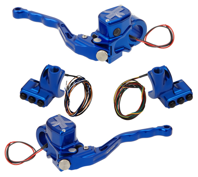 hand controls RR90X radial brake master cylinder w/ brake switch for single caliper + hydraulic clutch w/ switch + 3-button switch clamps w/ mirror hole – blue
