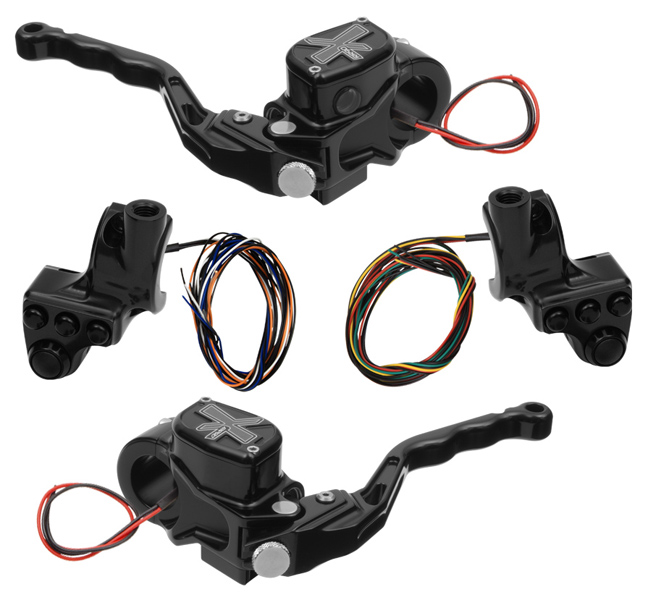 hand controls RR90X radial brake master cylinder w/ brake switch for dual caliper + hydraulic clutch w/ switch + 4-button switch clamps w/ mirror hole – black