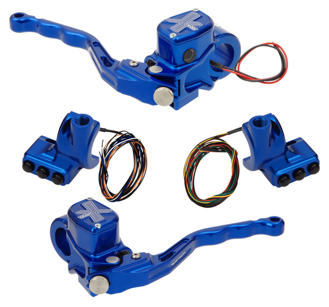 hand controls RR90X radial brake master cylinder w/ brake switch for dual caliper + hydraulic clutch w/out switch + 3-button switch clamps w/ mirror hole – blue