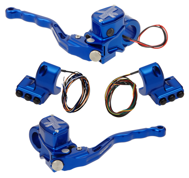 hand controls RR90X radial brake master cylinder w/ brake switch for dual caliper + hydraulic clutch w/out switch + 3-button switch clamps w/out mirror hole – blue
