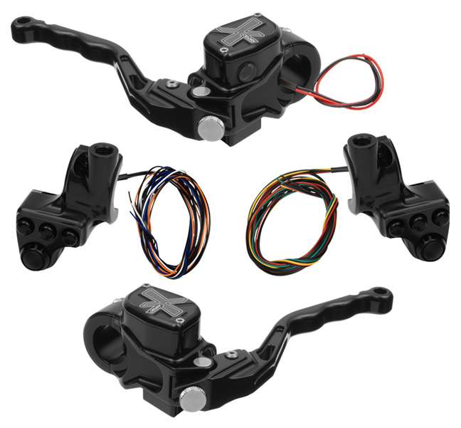 hand controls RR90X radial brake master cylinder w/ brake switch for dual caliper + hydraulic clutch w/out switch + 4-button switch clamps w/ mirror hole – black