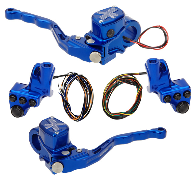 hand controls RR90X radial brake master cylinder w/ brake switch for dual caliper + hydraulic clutch w/out switch + 4-button switch clamps w/ mirror hole – blue