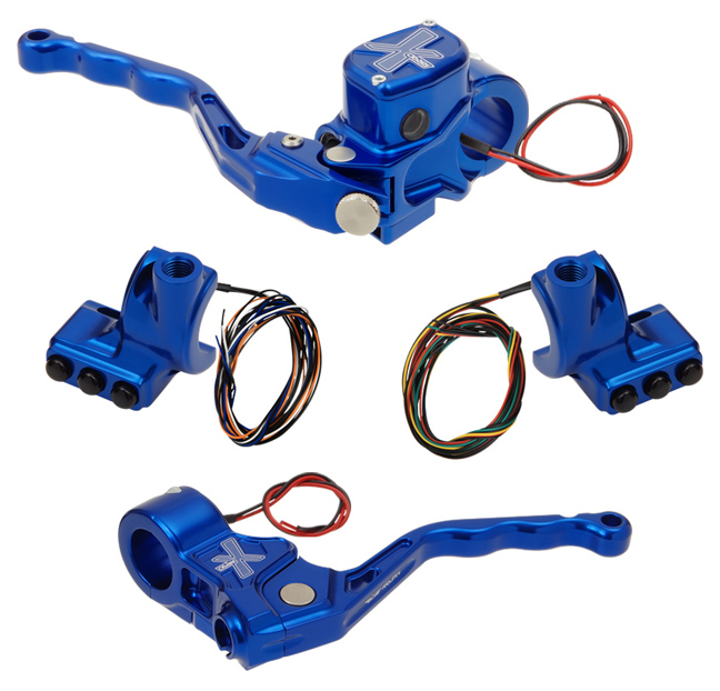 hand controls RR90X radial brake master cylinder w/ brake switch for dual caliper + cable clutch w/ switch + 3-button switch clamps w/ mirror hole – blue