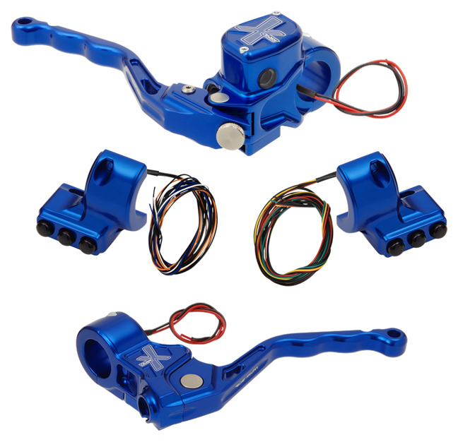 hand controls RR90X radial brake master cylinder w/ brake switch for dual caliper + cable clutch w/ switch + 3-button switch clamps w/out mirror hole – blue