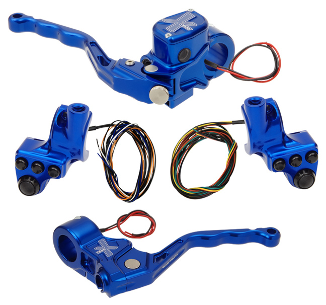 hand controls RR90X radial brake master cylinder w/ brake switch for dual caliper + cable clutch w/ switch + 4-button switch clamps w/ mirror hole – blue