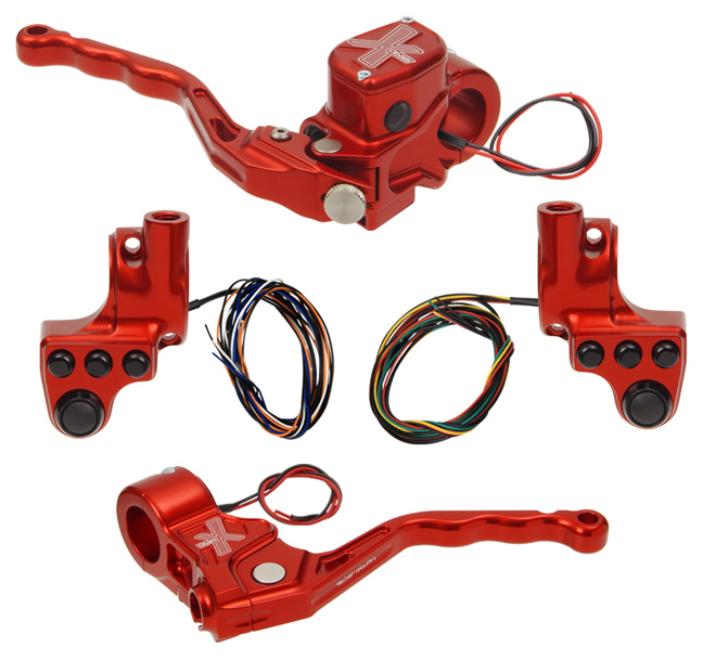 hand controls RR90X radial brake master cylinder w/ brake switch for dual caliper + cable clutch w/ switch + 4-button switch clamps w/ mirror hole – red
