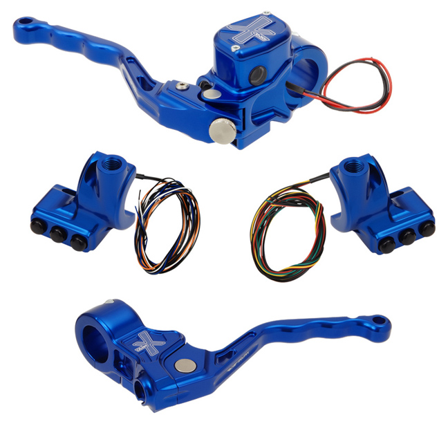 hand controls RR90X radial brake master cylinder w/ brake switch for dual caliper + cable clutch w/out switch + 3-button switch clamps w/ mirror hole – blue