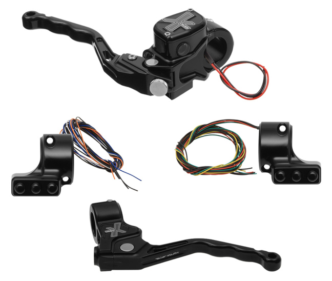 hand controls RR90X radial brake master cylinder w/ brake switch for dual caliper + cable clutch w/out switch + 3-button switch clamps w/out mirror hole – black