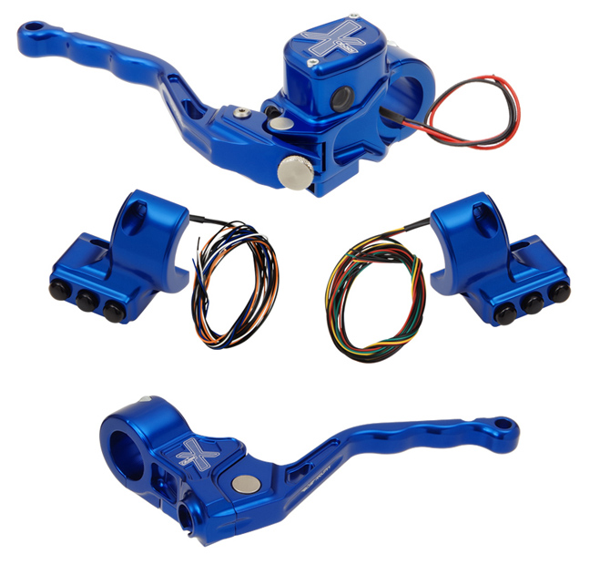 hand controls RR90X radial brake master cylinder w/ brake switch for dual caliper + cable clutch w/out switch + 3-button switch clamps w/out mirror hole – blue