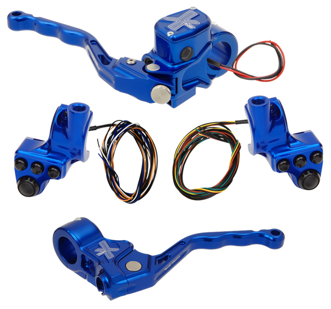 hand controls RR90X radial brake master cylinder w/ brake switch for dual caliper + cable clutch w/out switch + 4-button switch clamps w/ mirror hole – blue