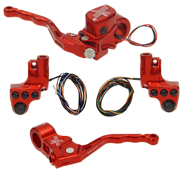 hand controls RR90X radial brake master cylinder w/ brake switch for dual caliper + cable clutch w/out switch + 4-button switch clamps w/ mirror hole – red
