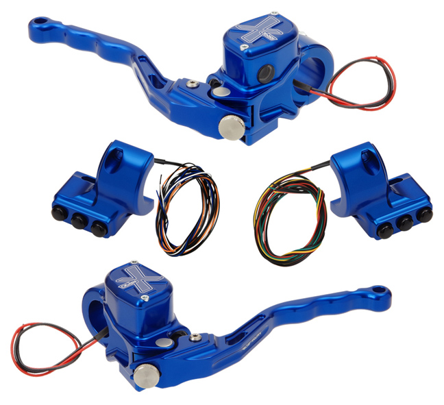 hand controls RR90X radial brake master cylinder w/ brake switch for dual caliper + hydraulic clutch w/ switch + 3-button switch clamps w/out mirror hole – blue