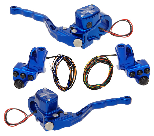 hand controls RR90X radial brake master cylinder w/ brake switch for dual caliper + hydraulic clutch w/ switch + 4-button switch clamps w/ mirror hole – blue