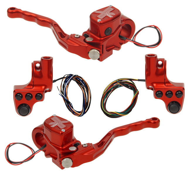 hand controls RR90X radial brake master cylinder w/ brake switch for dual caliper + hydraulic clutch w/ switch + 4-button switch clamps w/ mirror hole – red