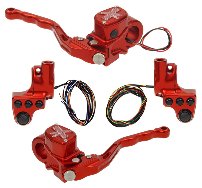 hand controls RR90X radial brake master cylinder w/ brake switch for single caliper + hydraulic clutch w/out switch + 4-button switch clamps w/ mirror hole – red